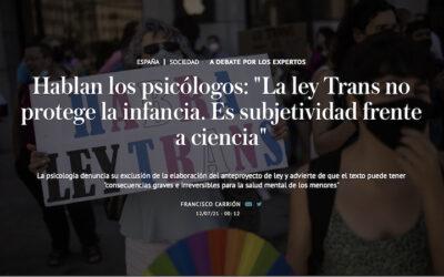 Hablan los psicólogos: La ley Trans no protege la infancia